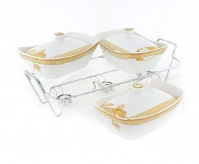 Casserole With Rack B751 Motif Lily