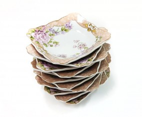 Piring Kotak Kecil B423 1 Lusin Motif Magnolia
