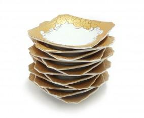 Piring Kotak Kecil B423 1 Lusin Motif Marigold
