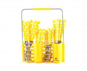 Sendok dan Garpu Set V240C Motif Kotak Warna Kuning