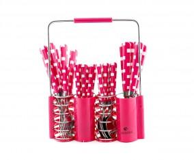 Sendok dan Garpu Set V240C Motif Kotak Warna Merah Muda