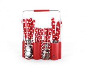 Sendok dan Garpu Set V240C Motif Kotak Warna Merah