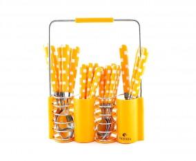 Sendok dan Garpu Set V240C Motif Kotak Warna Orange
