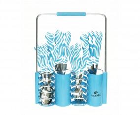 Sendok dan Garpu Set V242C Motif Zebra Warna Biru