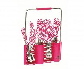 Sendok dan Garpu Set V242C Motif Zebra Warna Pink