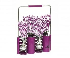Sendok dan Garpu Set V242C Motif Zebra Warna Ungu