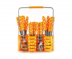 Sendok dan Garpu Set V245C Polkadot Warna Orange