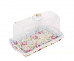 Tray Square Cake Plate PA176 Motif Mawar