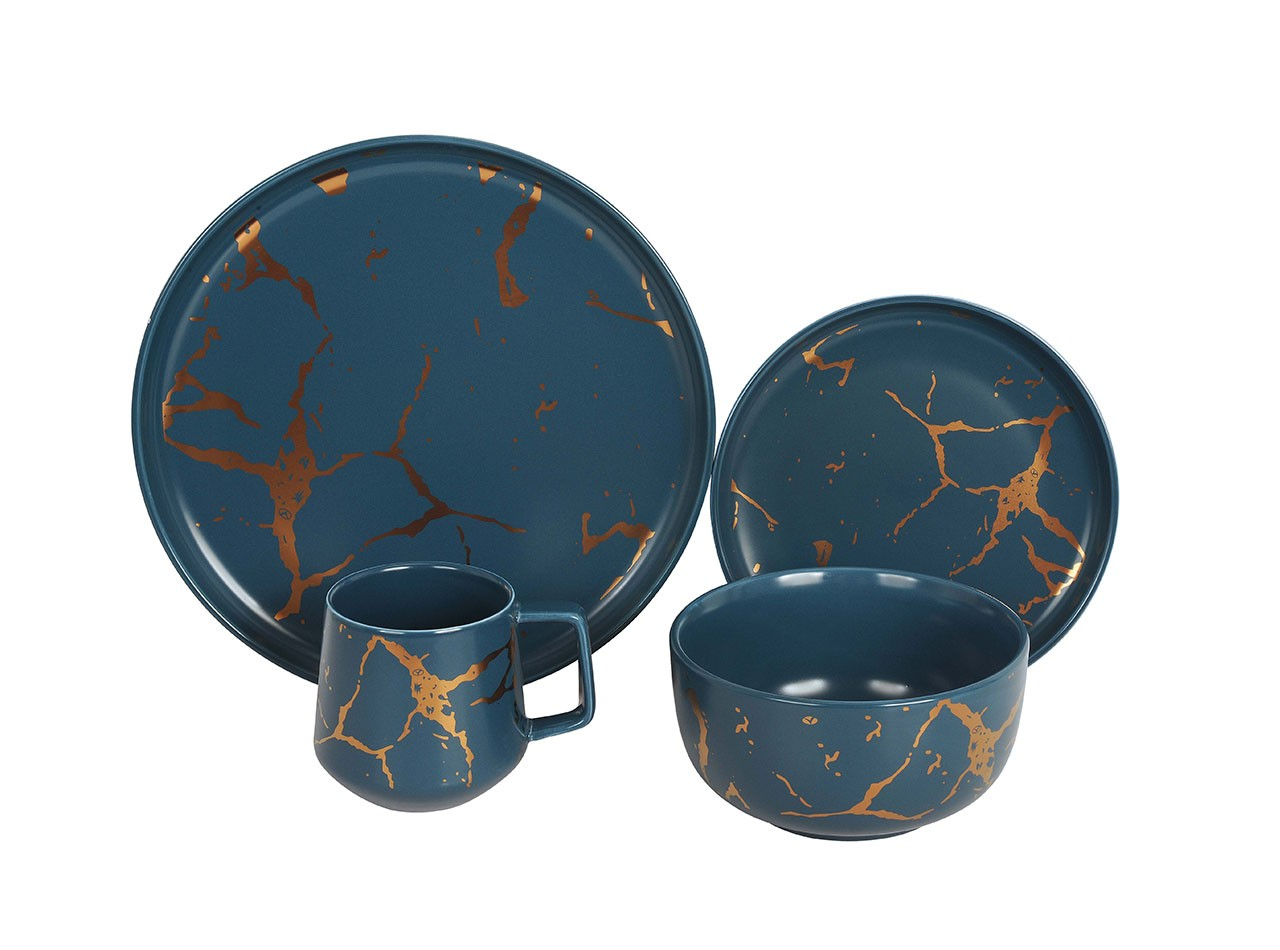 Perlengkapan Makan Dengan Motif Marmer DM01 warna Biru