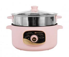 Panci Sup Elektrik dengan Kukusan VHP03 Pink