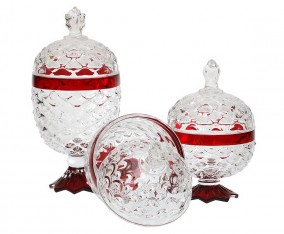 Glass Pineapple Candy Jar VGC356-KCR (Red)