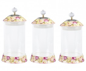 Glass Candy Jar GA301 Motif Mawar