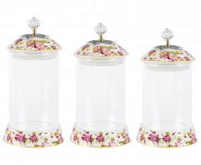 Glass Candy Jar GA301 Motif Melati